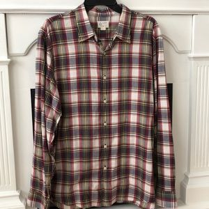 J crew shirt plaid button xl